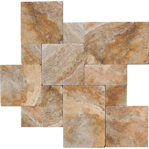Scabas Tumbled Travertine Patterns Versailles Pattern