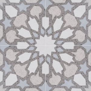 Brown, Light Brown, Beige, Gray Polished Arietta Cement Tiles 8x8