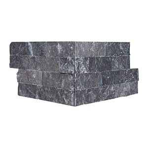 Black Ledger Corner Marble Ledger Panel 6x12