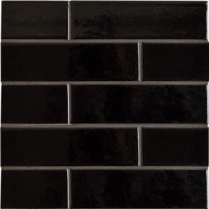 Black Vinyl Gloss Ceramic Tiles 2 1/8x7 1/2