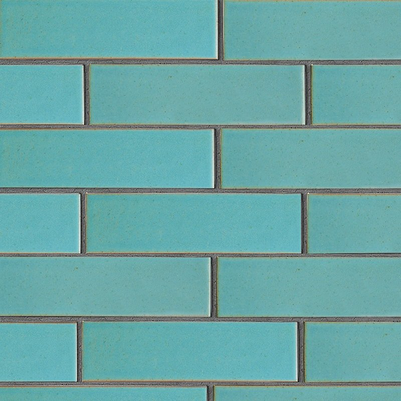 Turquoise Flats Leather Ceramic Tiles 2 5/8×9 5/8