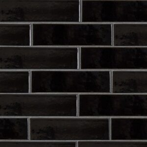 Black Vinyl Gloss Ceramic Tiles 2 5/8x9 5/8