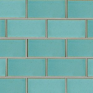 Turquoise Flats Leather Ceramic Tiles 3 5/8x7 5/8