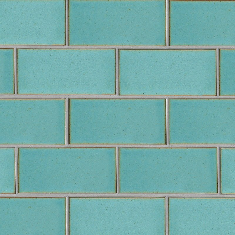 Turquoise Flats Leather Ceramic Tiles 3 5/8×7 5/8