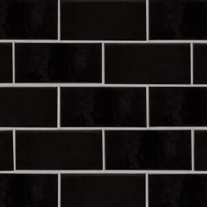 Black Vinyl Gloss Ceramic Tiles 3 5/8x7 5/8