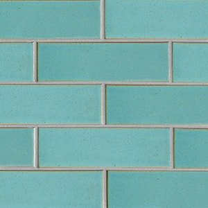 Turquoise Flats Leather Ceramic Tiles 3 5/8x11 5/8