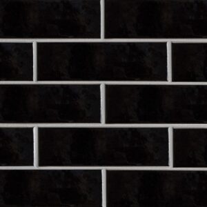Black Vinyl Gloss Ceramic Tiles 3 5/8x11 5/8