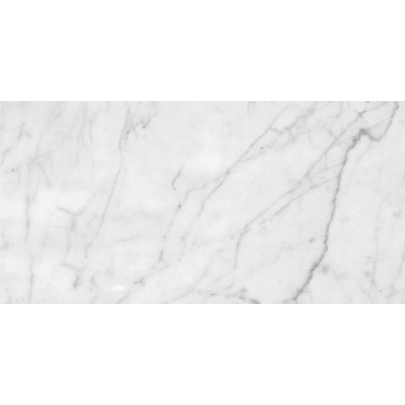 White Carrara Venatino Polished Marble Tiles 12×24