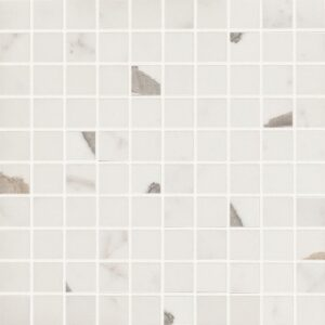Bianco Statuario Polished 1x1 Porcelain Mosaics 12x12