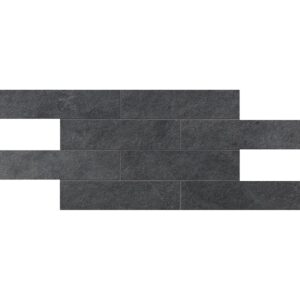 Dark Flow Natural 2 3/4x11 1/2 Brick Mesh Mount Porcelain Mosaics 12x24