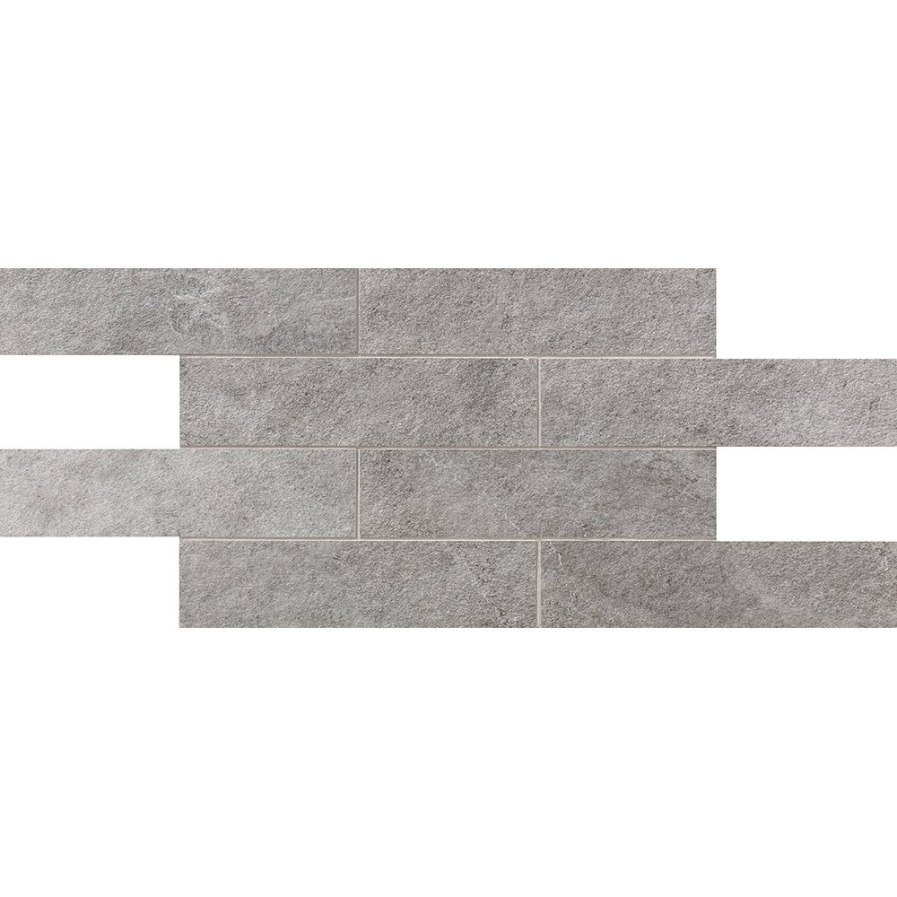 Silver Flow Natural 2 3/4×11 1/2 Brick Mesh Mount Porcelain Mosaics 12×24