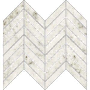 Bianco Carrara Polished Chevron Porcelain Mosaics 10x11