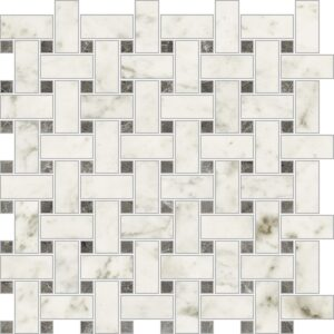 Bianco Carrara Polished Trama Porcelain Mosaics 12x12