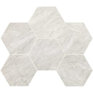 Grigio Bardiglio Honed&rectified Hexagon Porcelain Mosaics 12x16 1/3