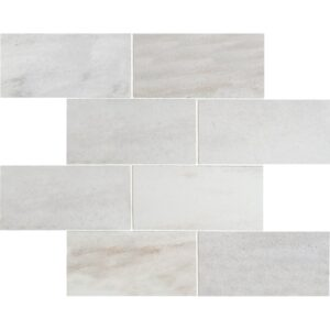 Pearl Polished 3x6 Brick Staggered Porcelain Mosaics 12x12