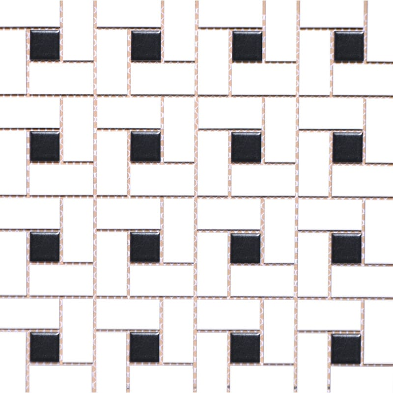 Mg White Black Glazed Pinwheel Porcelain Mosaics 12x12