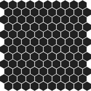 Black Matte Hexagon Ceramic Mosaics 12x12