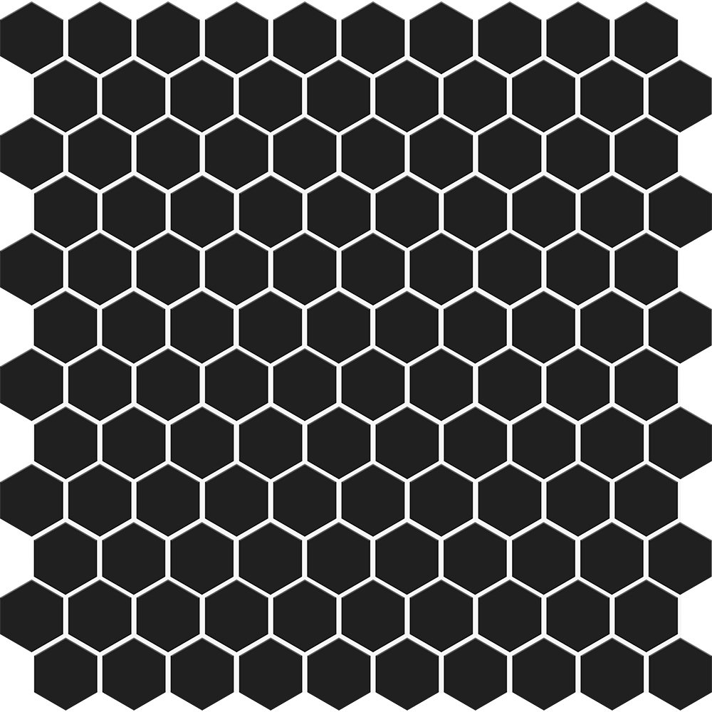 Black Matte Hexagon Ceramic Mosaics 12×12