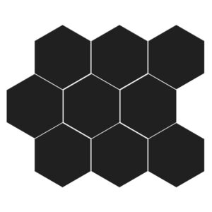 Black Matte Midi Hexagon Ceramic Mosaics 8x10