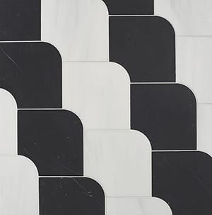 Snow White, Black Multi Finish Ruffle Marble Waterjet Decos 6 15/32x6 15/32