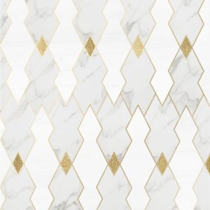 Calacatta Gold, Snow White, Gold Ottoman Multi Finish Taza Marble Waterjet Decos 8 8/32x10 1/16