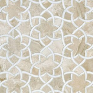 Diana Royal, Dolomite Honed Isidore Marble Waterjet Decos 12 1/2x 14 3/8