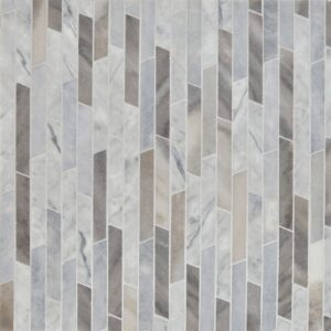 Afyon Grey, Palisandra Multi Finish Rhodes Marble Waterjet Decos 8 13/16x 14 5/16