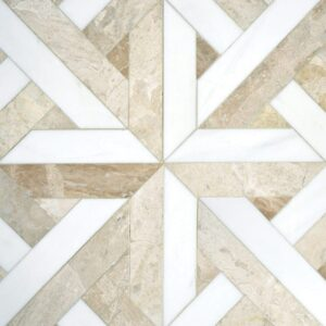 Diana Royal, Dolomite Multi Finish Rubicon Marble Waterjet Decos 17x17