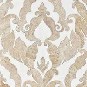 Diana Royal, Dolomite Multi Finish Rumi Marble Waterjet Decos 13 9/16x18