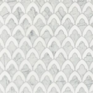 Afyon White, Avenza Dark Multi Finish Sophia Marble Waterjet Decos 8 3/4x13 1/2