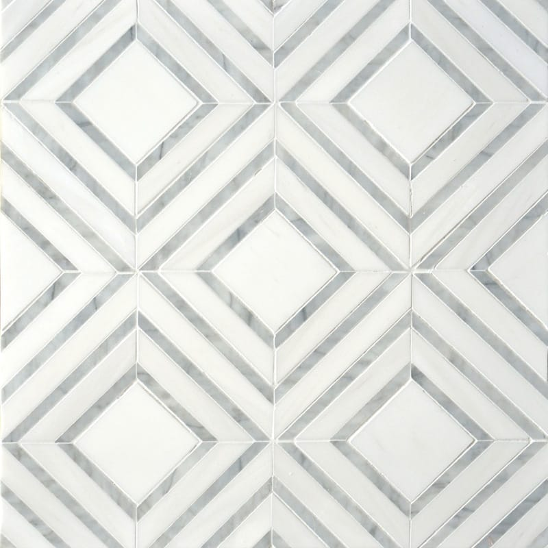 Avenza Light, Dolomite Multi Finish Yildiz Marble Waterjet Decos 8 13/16×11