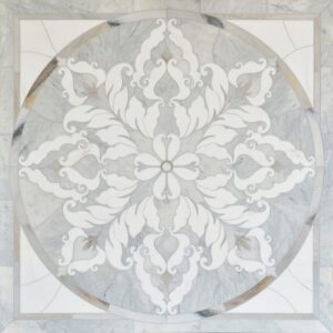 Avenza Light, Skyline, Snow White Multi Finish Rumi Marble Medallions 48x48