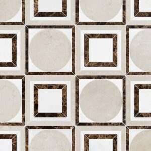 Crema Bella, Emperador Dark, Aspen White Polished Cicero Marble Waterjet Decos 12x12