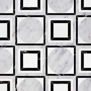 White Carrara, Black, Thassos White Multi Finish Cicero Marble Waterjet Decos 12x12