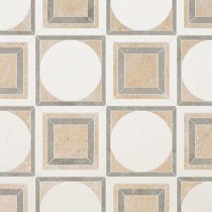 Champagne, Seashell, Olive Green Multi Finish Cicero Limestone Waterjet Decos 12x12