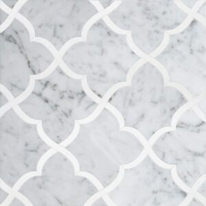 White Carrara, Thassos White Multi Finish Gaia Marble Waterjet Decos 11 3/8x11 3/8