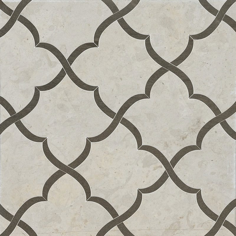 Britannia, Bosphorus Honed Gaia Limestone Waterjet Decos 11 3/8×11 3/8