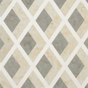 Champagne, Seashell, Olive Green Multi Finish Hippodrome Limestone Waterjet Decos 10 11/16x11 5/16