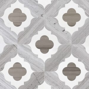 Haisa Light, Haisa Dark, Thassos White Multi Finish Irene Marble Waterjet Decos 11 3/8x11 3/8