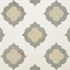 Champagne, Seashell, Olive Green Multi Finish Irene Limestone Waterjet Decos 11 3/8x11 3/8