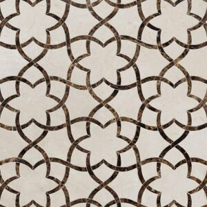 Crema Bella, Emperador Dark Polished Isidore Marble Waterjet Decos 12 1/2x14 3/8