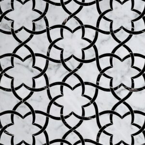 White Carrara, Black Multi Finish Isidore Marble Waterjet Decos 12 1/2x14 3/8