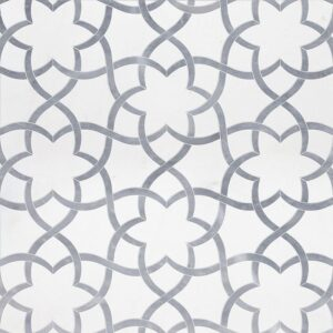 Aspen White, Allure Light Polished Isidore Marble Waterjet Decos 12 1/2x14 3/8