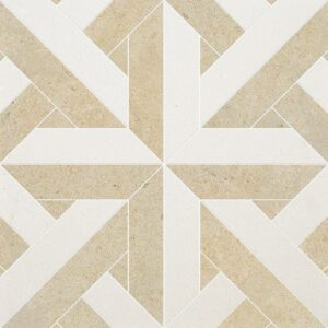 Champagne, Seashell Multi Finish Rubicon Limestone Waterjet Decos 17x17