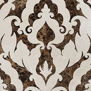 Crema Bella, Emperador Dark Polished Rumi Marble Waterjet Decos 13 9/16x18