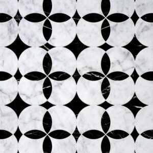 White Carrara, Black Multi Finish Constantine Marble Waterjet Decos 13 5/8x13 5/8
