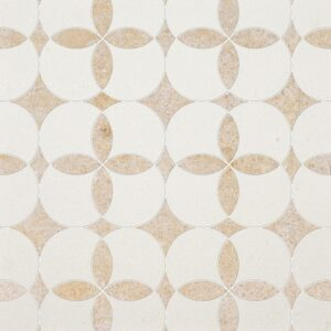 Champagne, Seashell Honed Constantine Limestone Waterjet Decos 13 5/8x13 5/8