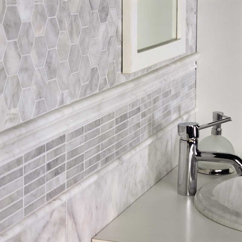 Avenza Honed Hexagon Marble Mosaics 10 3 8x12
