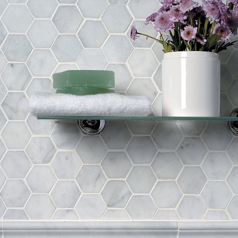 Glacier Honed Hexagon Marble Mosaics 10 3 8x12 Marble