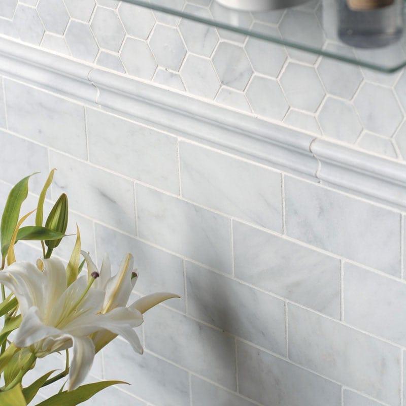 Glacier Honed Hexagon Marble Mosaics 10 3 8x12